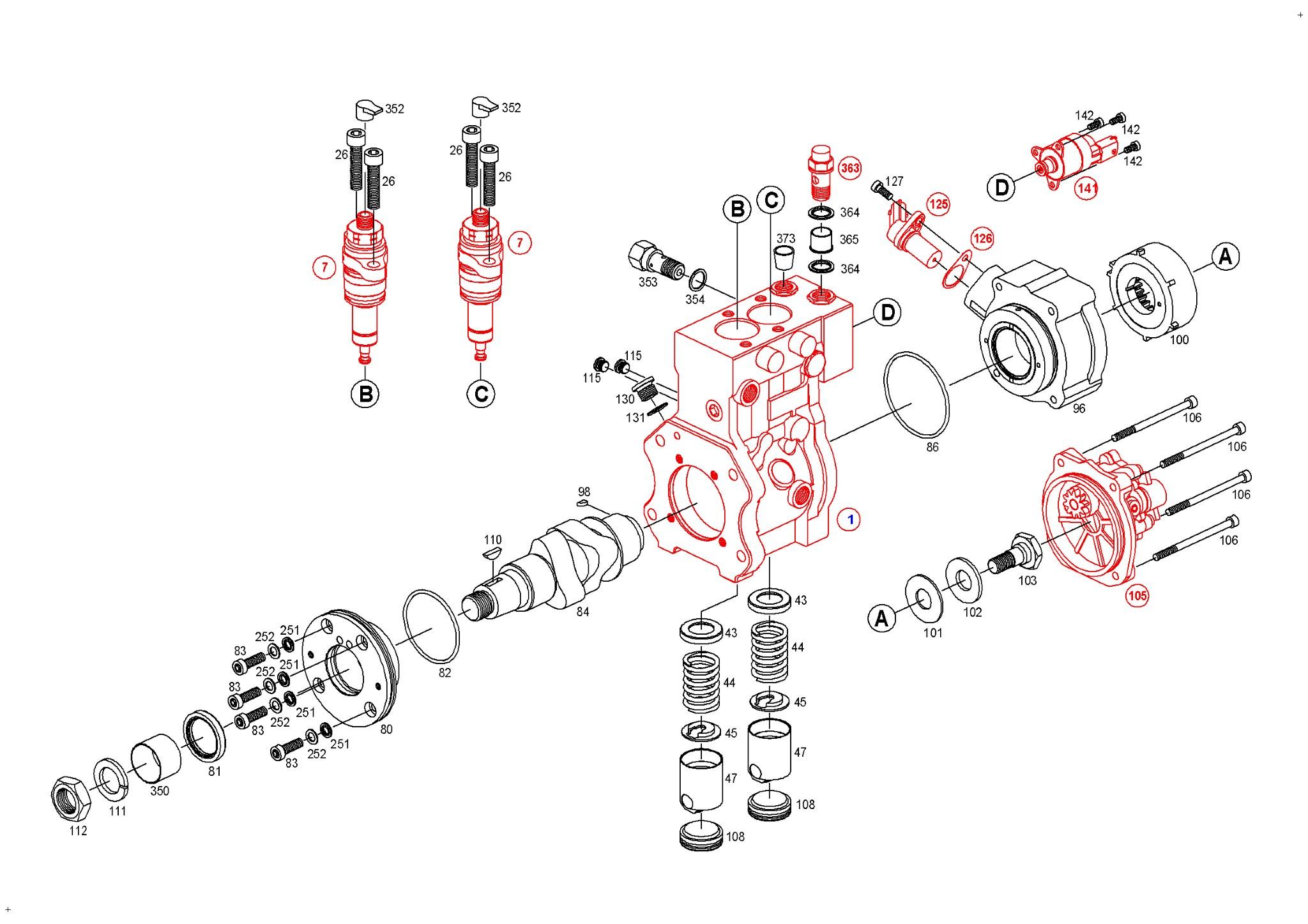 0 445 020 184, High-pressure pump, Common Rail system BOSCH, 0445020184