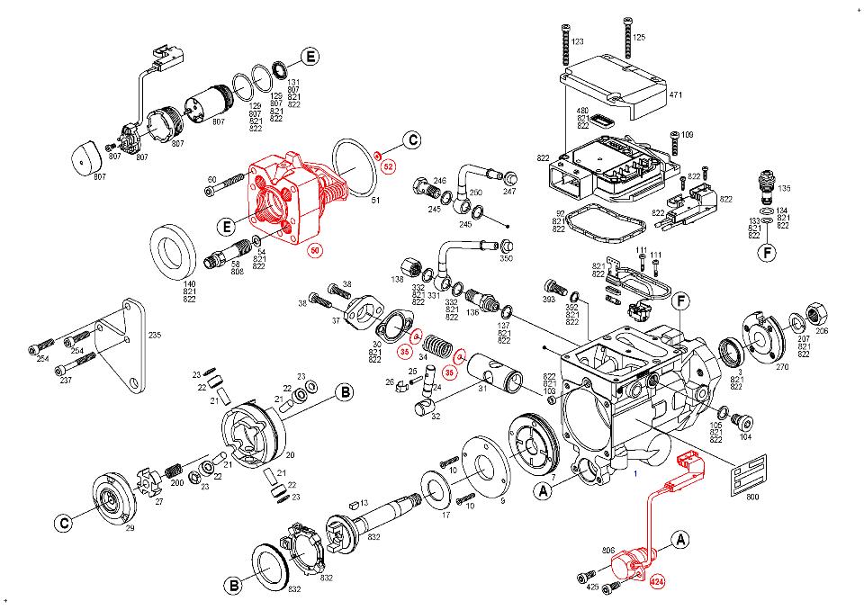 0 470 004 016, Fuel distributor injection pump BOSCH VP44