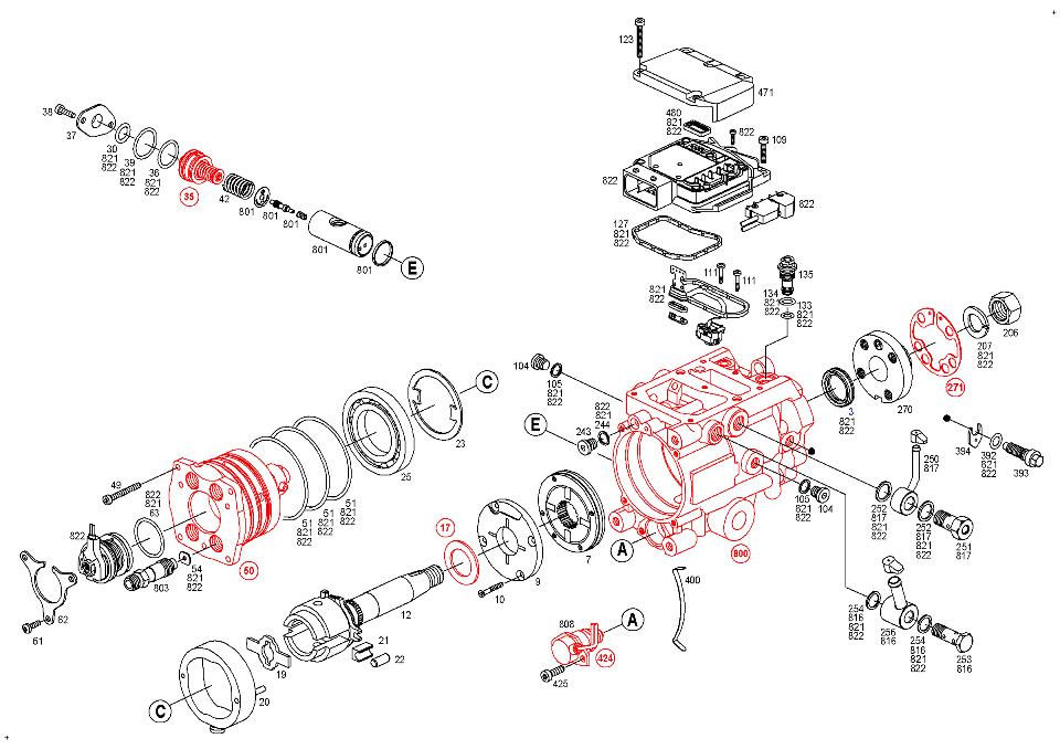 0 470 504 038, Fuel distributor injection pump BOSCH VP44